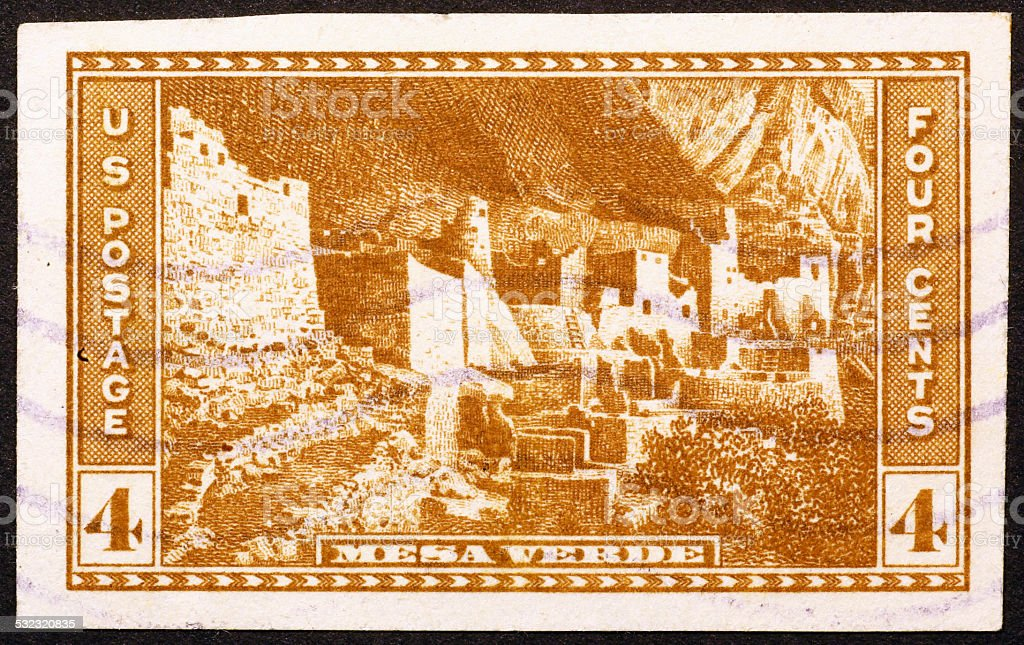 Mesa Verde on old US stamp of 1935 stock photo