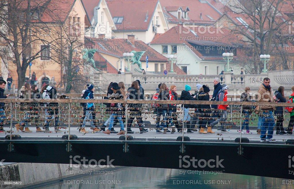 Mesarski Most in Ljubljana stock photo