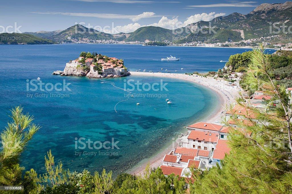 Mesmerising view of Sveti Stefan peninsula stock photo