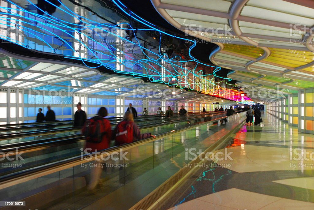 Mesmerizing Tunnel, Chicago O'Hare Airport stock photo