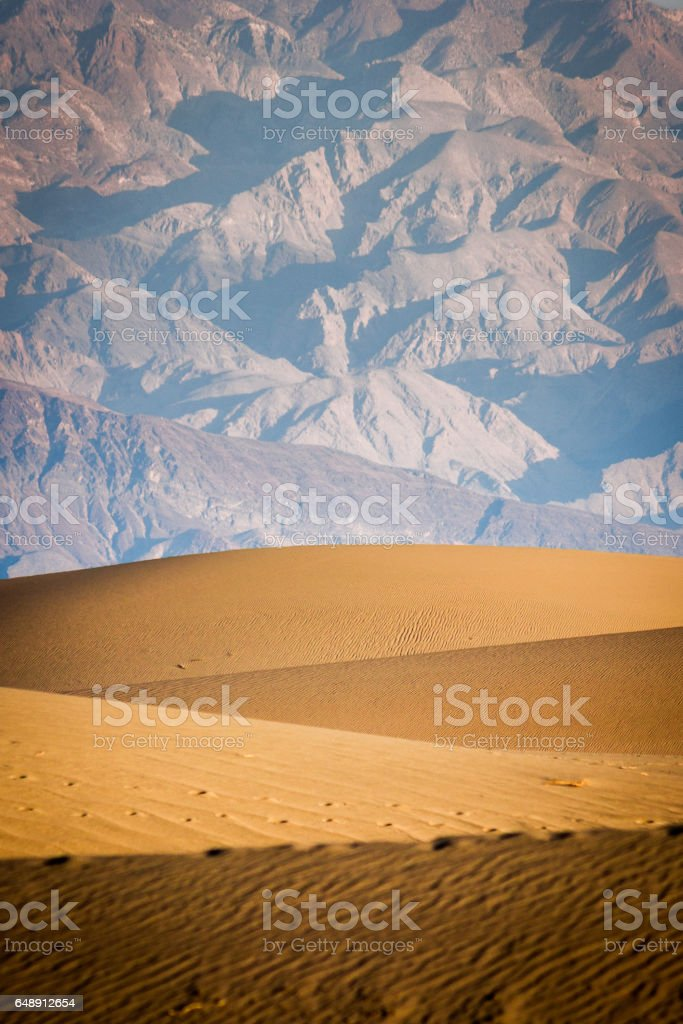 Mesquite flat dunes, Death Valley National Park, California, USA stock photo
