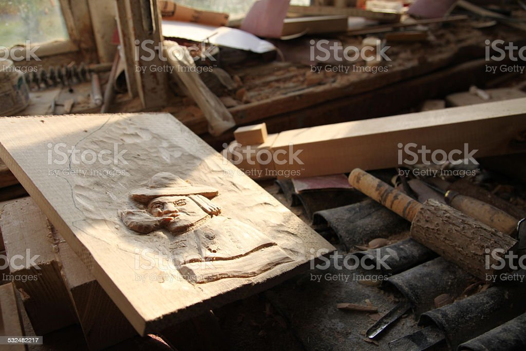 Mess in artist workshop stock photo