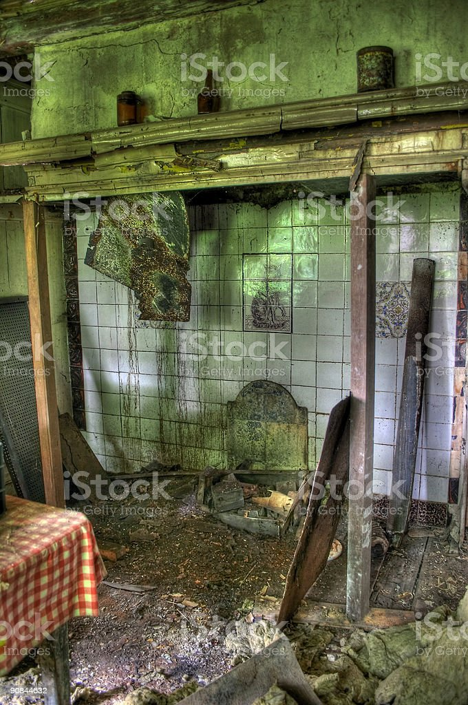 Mess in old house - HDR (Laren NH, the Netherlands) stock photo