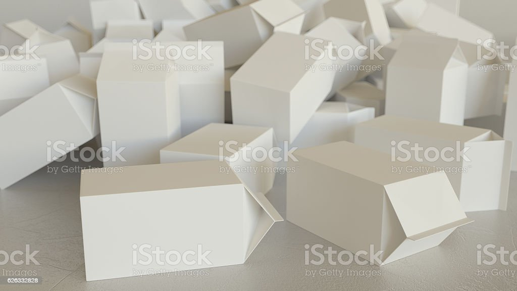 Mess of Blank Milk Cartons on Concrete stock photo