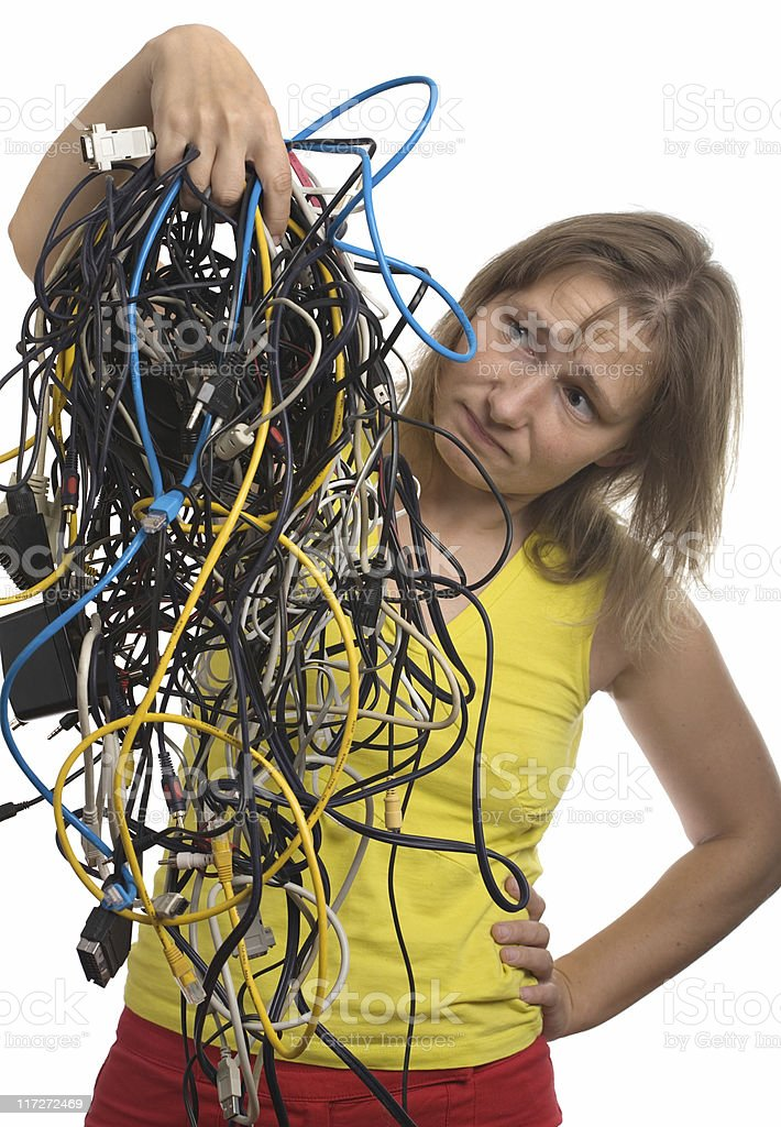 mess of cables royalty-free stock photo