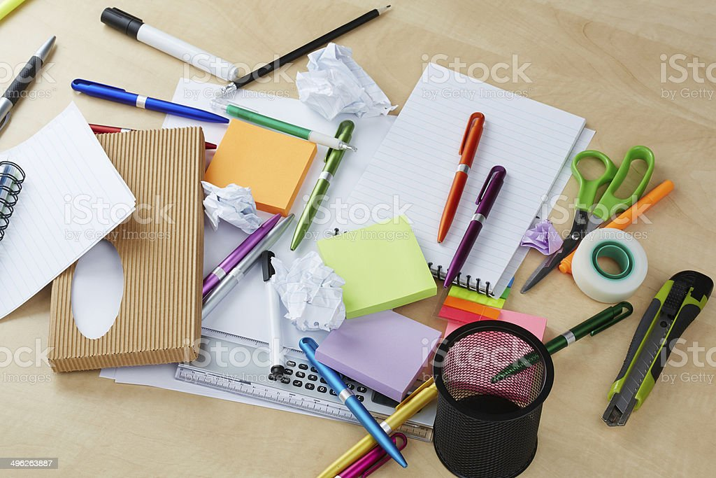 Mess on office table stock photo