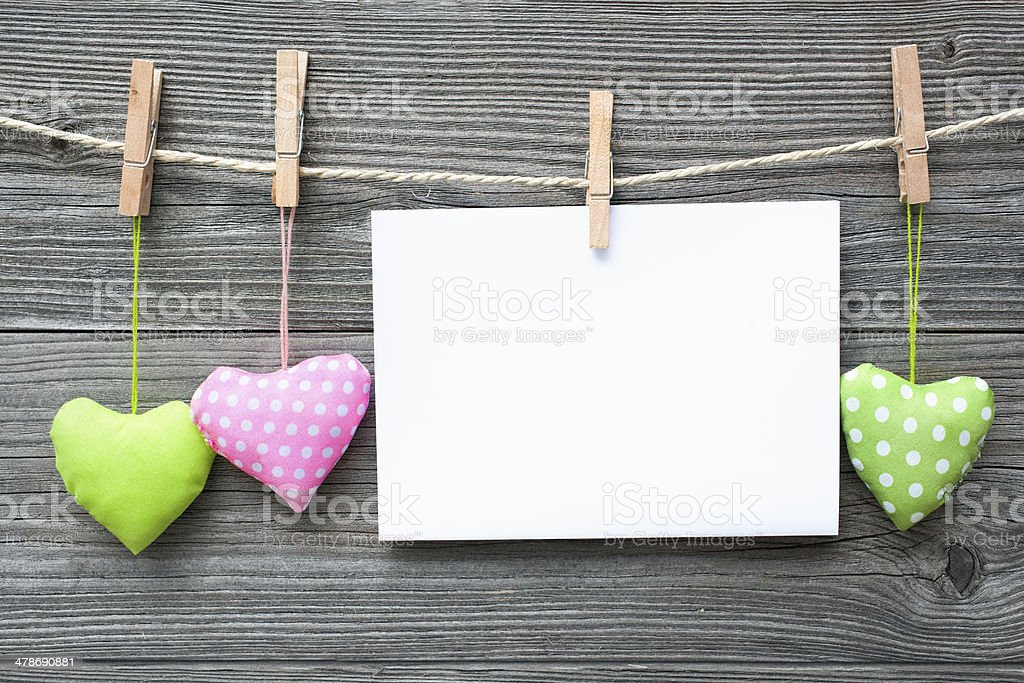 Message and hearts on the clothesline stock photo