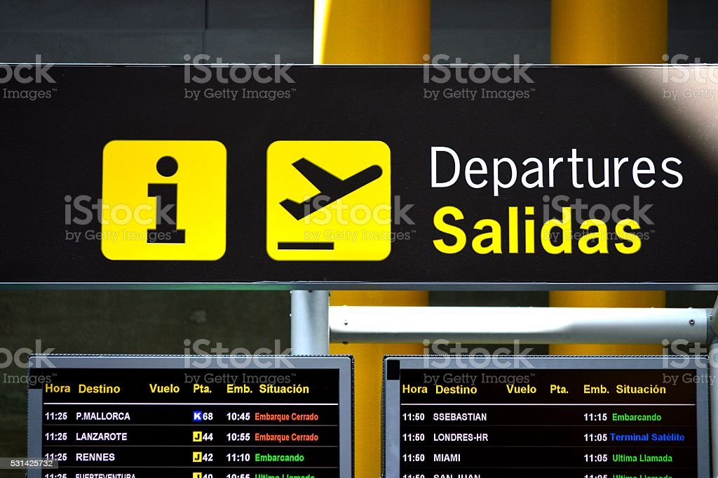 Message board at airport without airline companies, nor brands stock photo