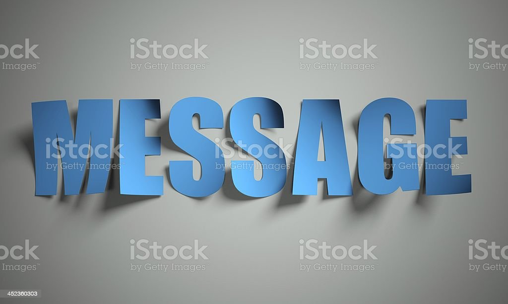 Message cut from paper on background royalty-free stock photo