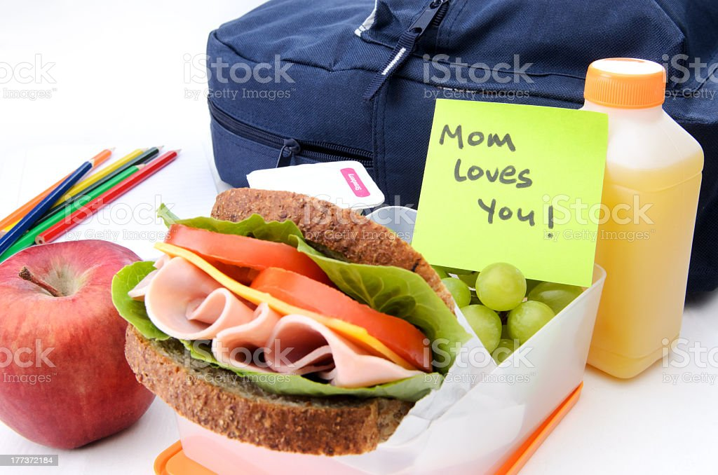 message from mum in lunchbox stock photo