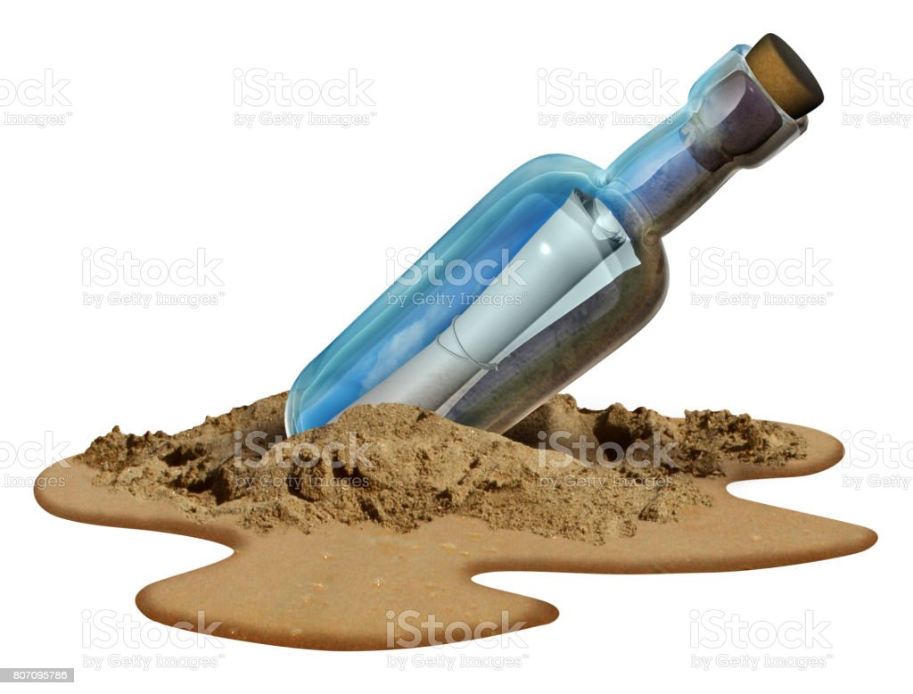 Message In A Bottle Isolated stock photo