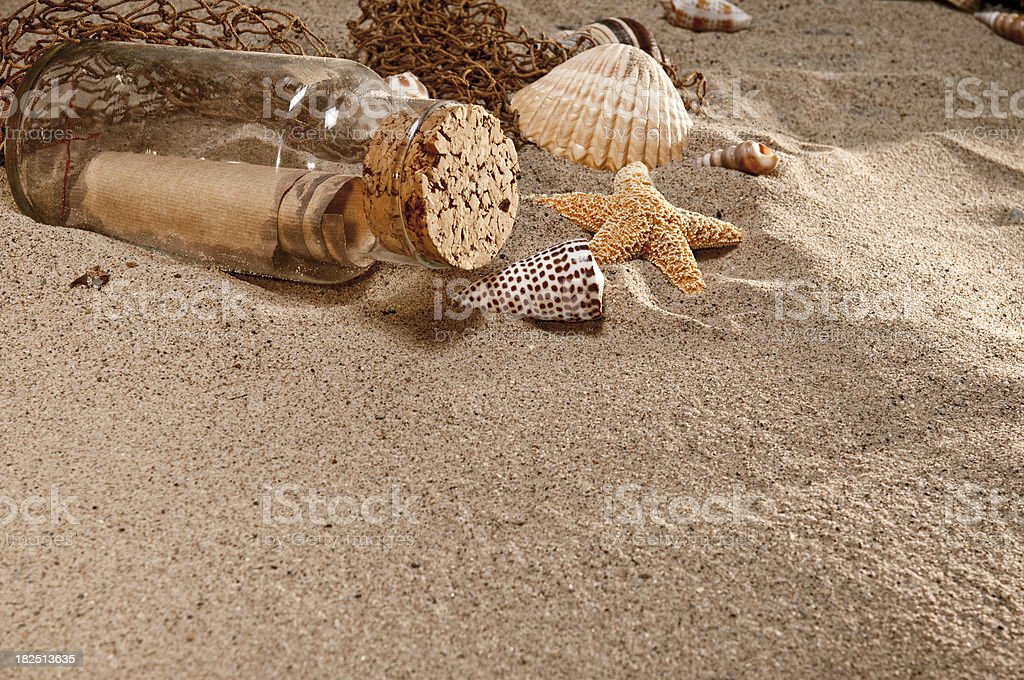 Message In A Bottle With Copy Space royalty-free stock photo