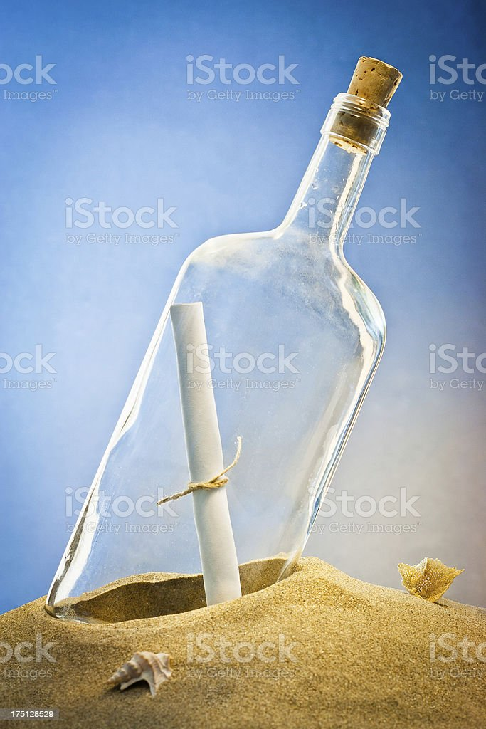 message in bottle on sand royalty-free stock photo