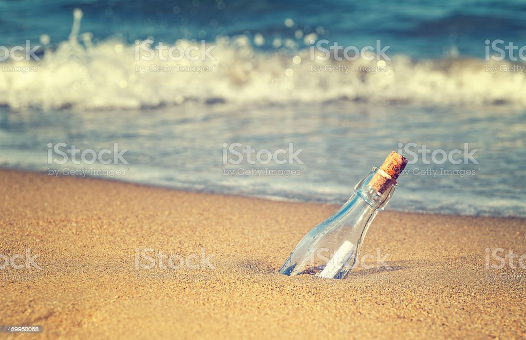message in the bottle vintage photo stock photo
