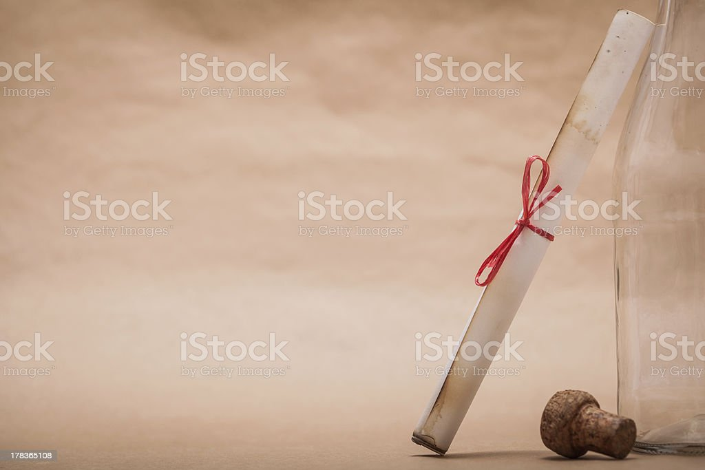 Message Next to a Bottle royalty-free stock photo