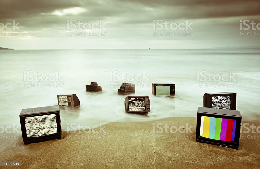 Message on a television stock photo
