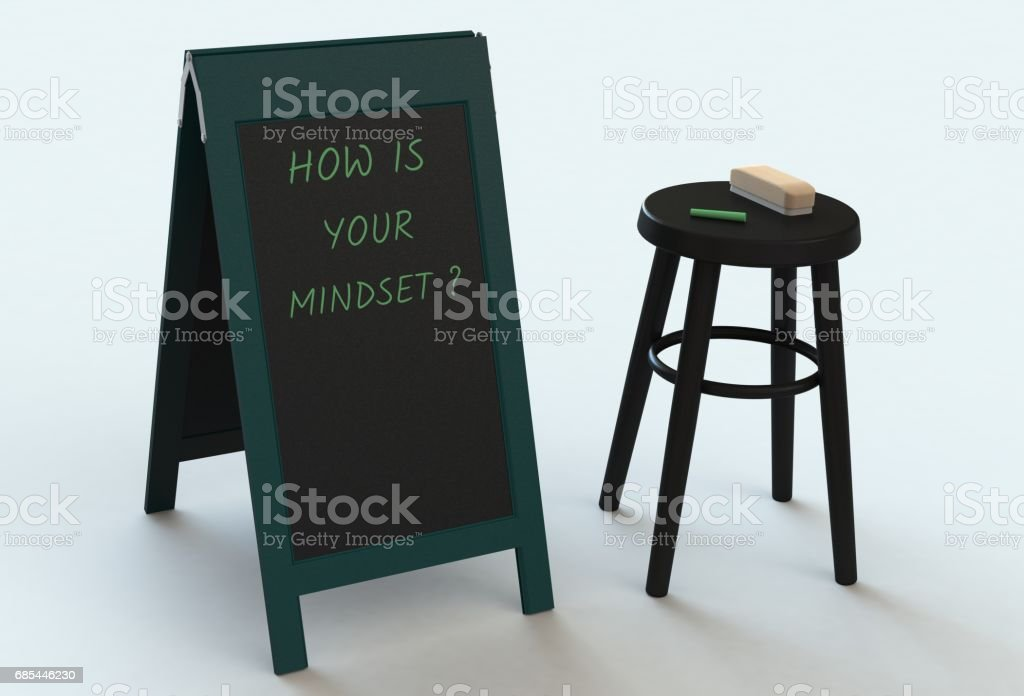 HOW IS YOUR MINDSET, message on blackboard, 3D rendering stock photo