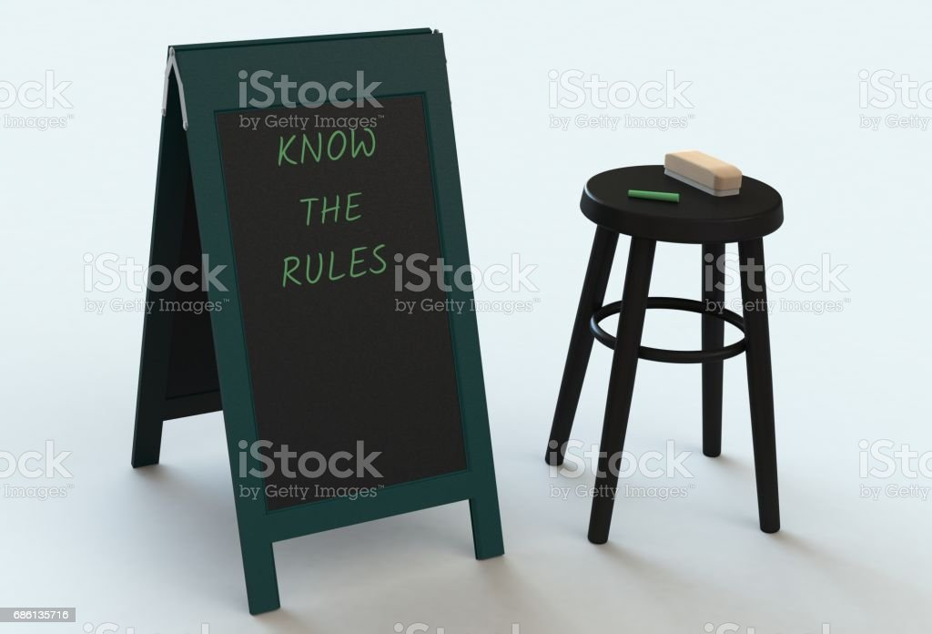 KNOW THE RULES, message on blackboard, 3D rendering stock photo