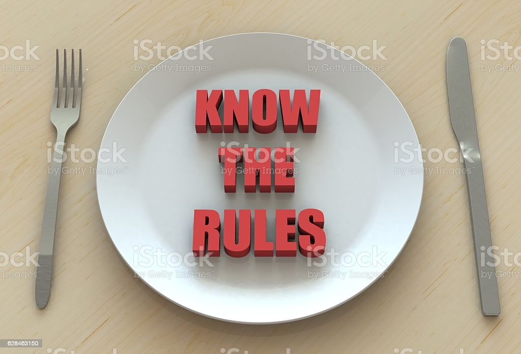 KNOW THE RULES, message on dish stock photo