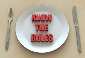 KNOW THE RULES, message on dish