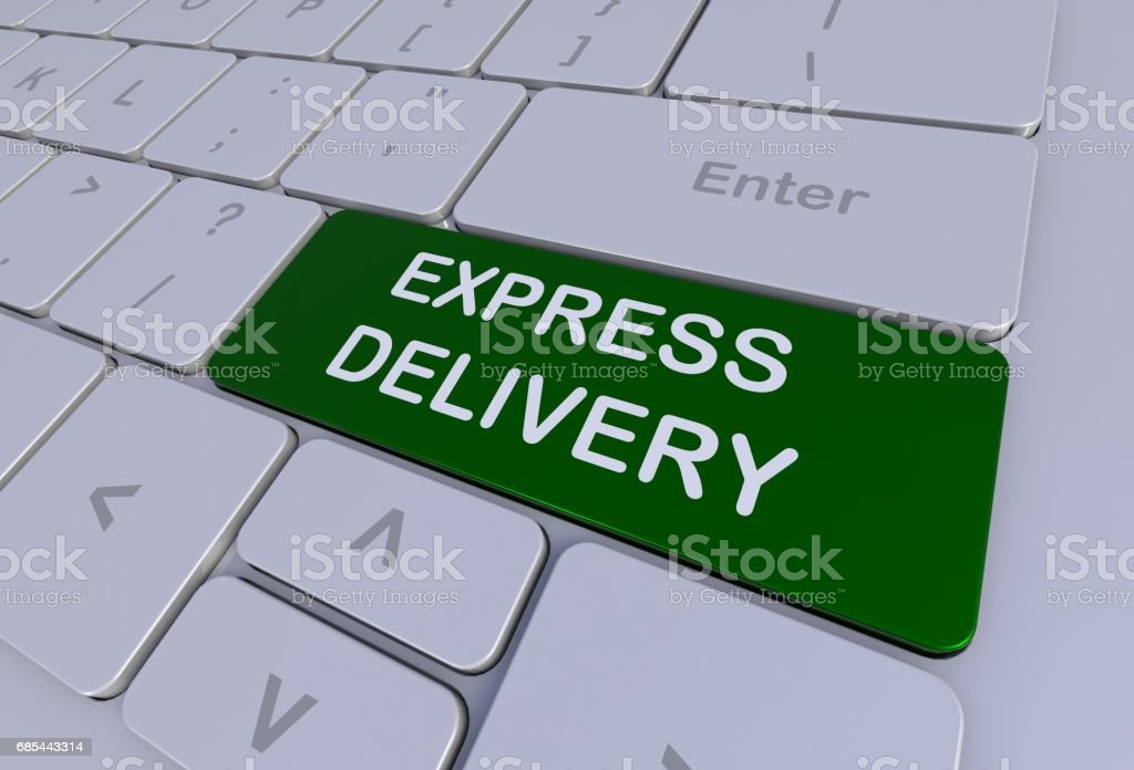 EXPRESS DELIVERY, message on keyboard, 3D rendering stock photo