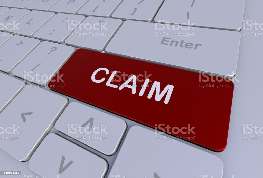 CLAIM, message on keyboard stock photo