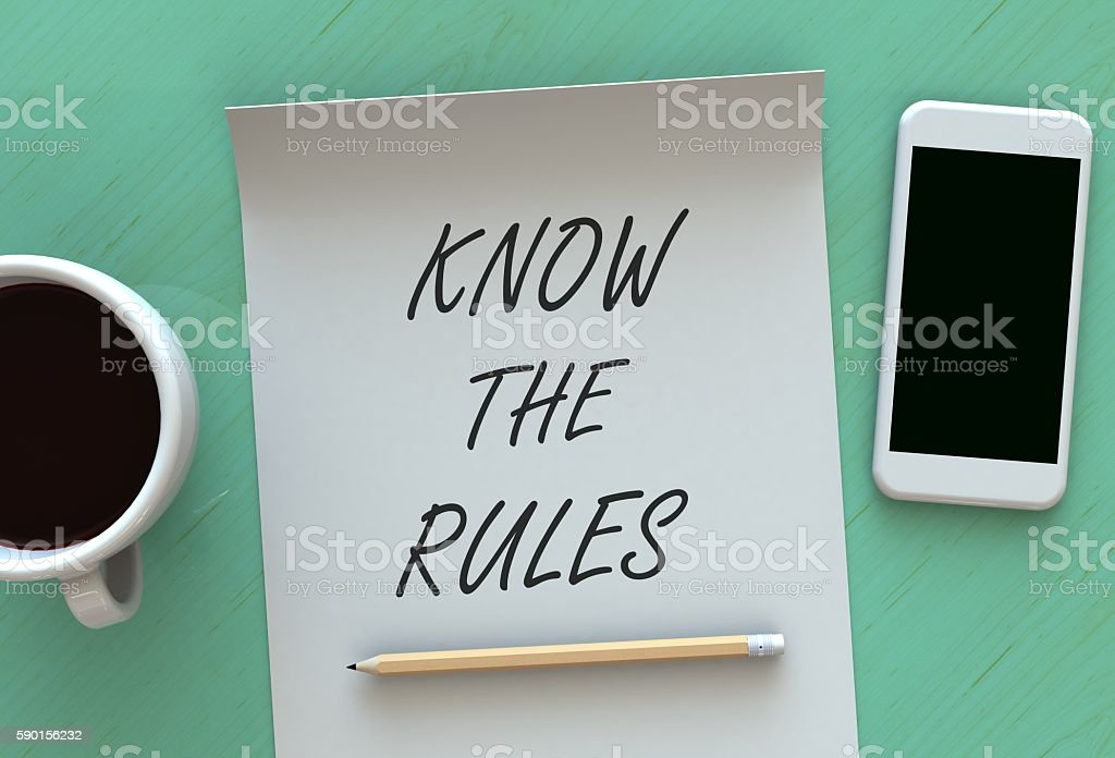 KNOW THE RULES, message on paper stock photo