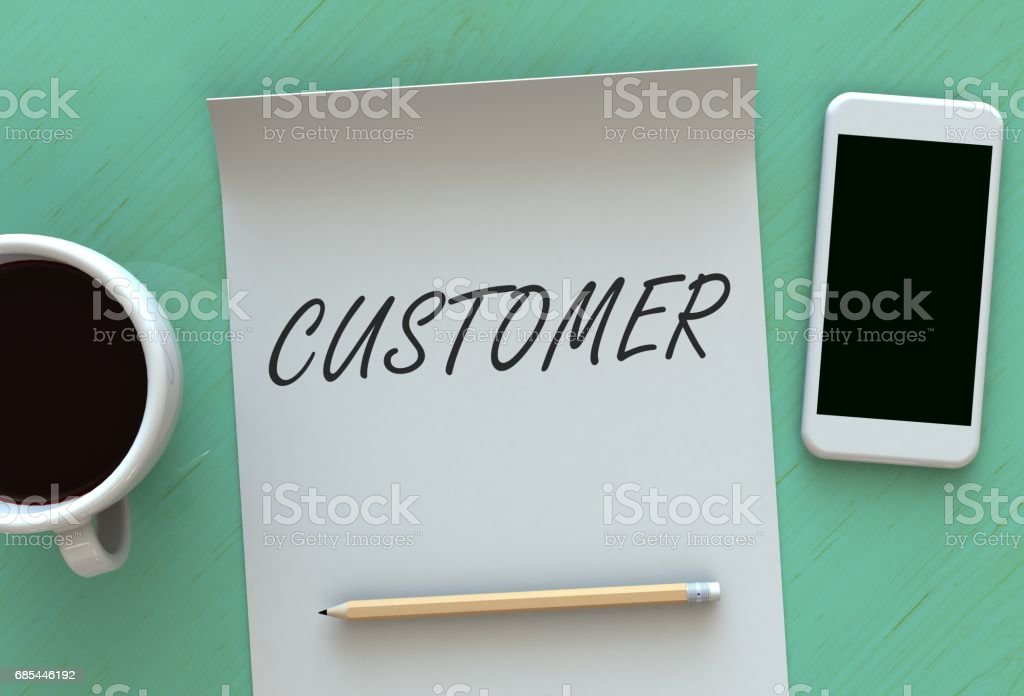 CUSTOMER, message on paper, smart phone and coffee on table stock photo