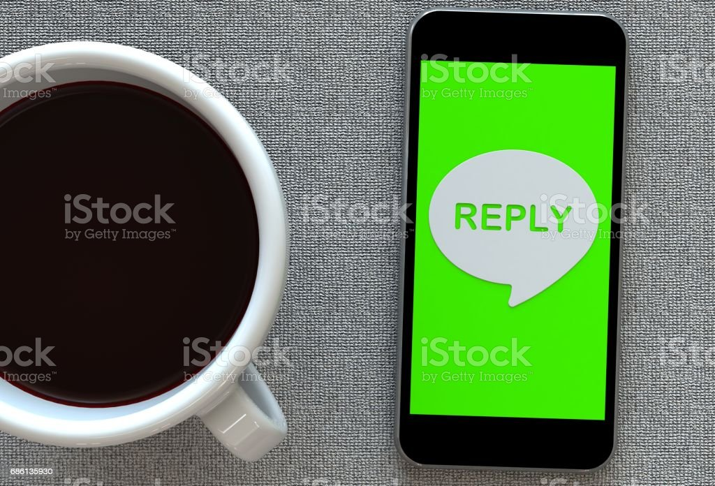 REPLY, message on speech bubble with smart phone and and coffee, 3D rendering stock photo