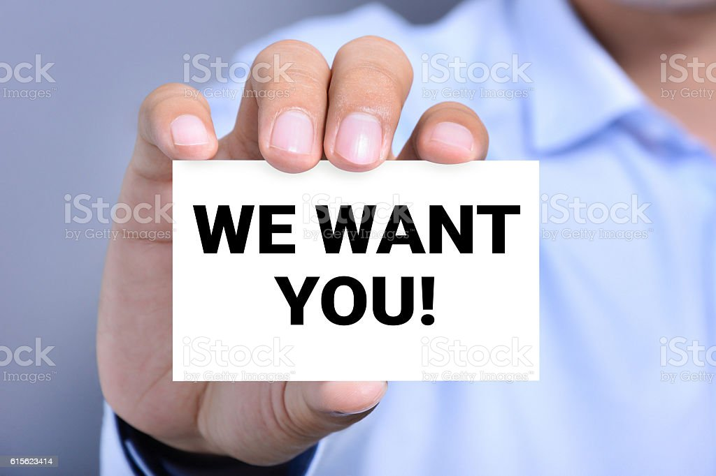 WE WANT YOU! message on the card stock photo