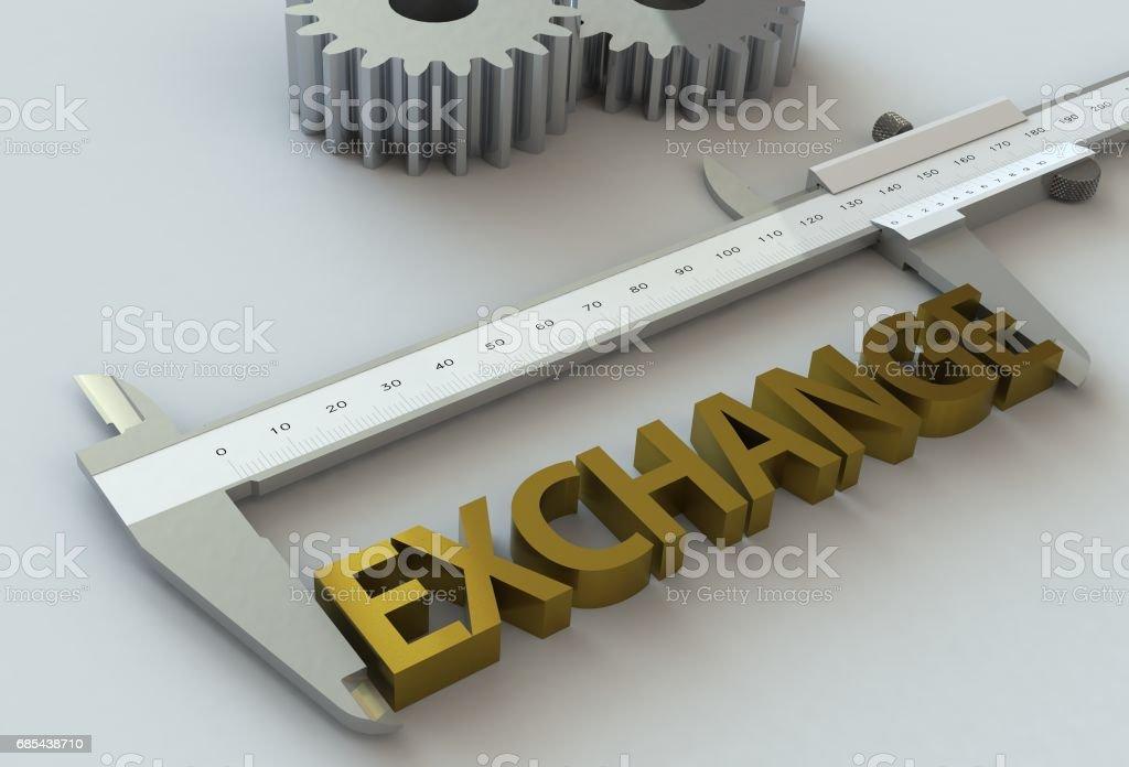 EXCHANGE, message on vernier caliper stock photo