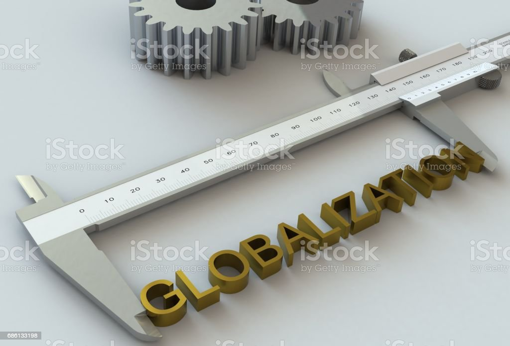 GLOBALIZATION, message on vernier caliper stock photo