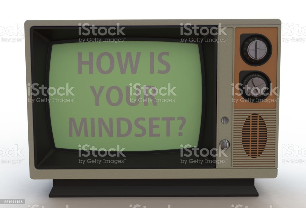 HOW IS YOUR MINDSET, message on vintage TV stock photo