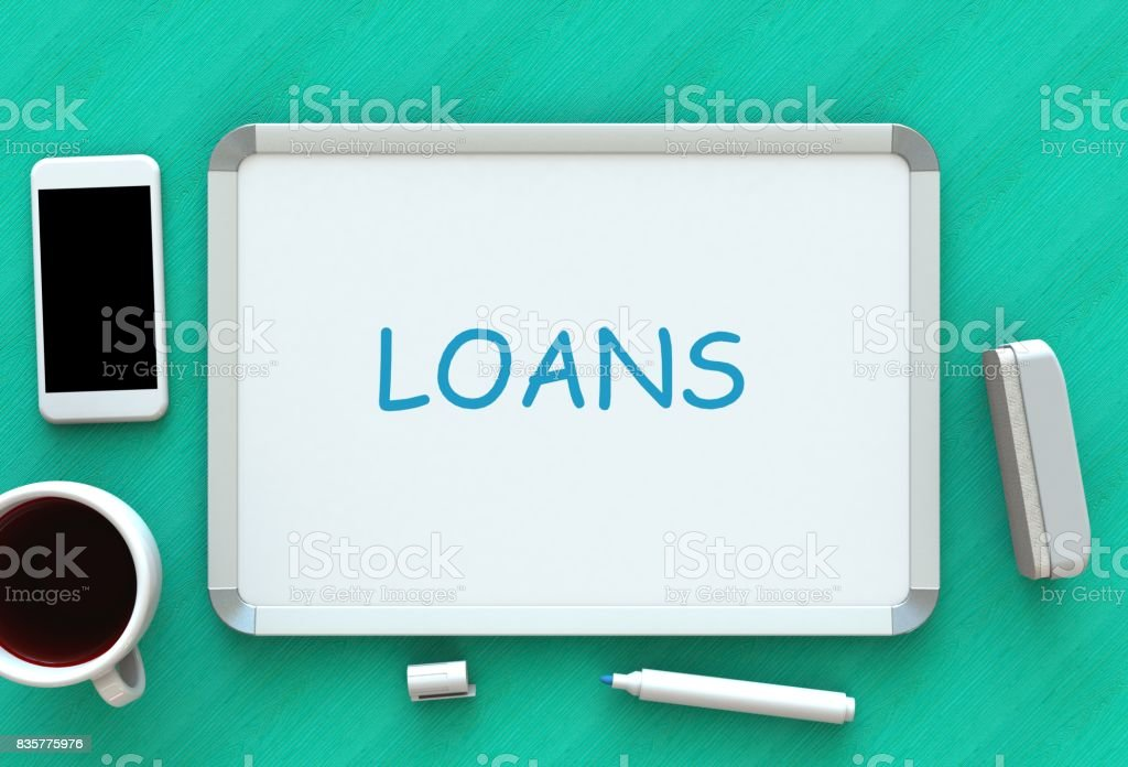 LOANS, message on whiteboard, smart phone and coffee on table, 3D rendering stock photo