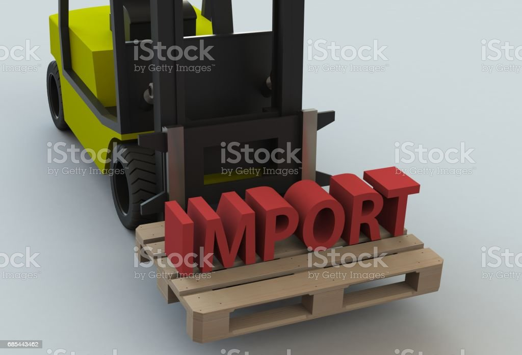 IMPORT, message on wooden pillet with forklift truck, 3D rendering stock photo