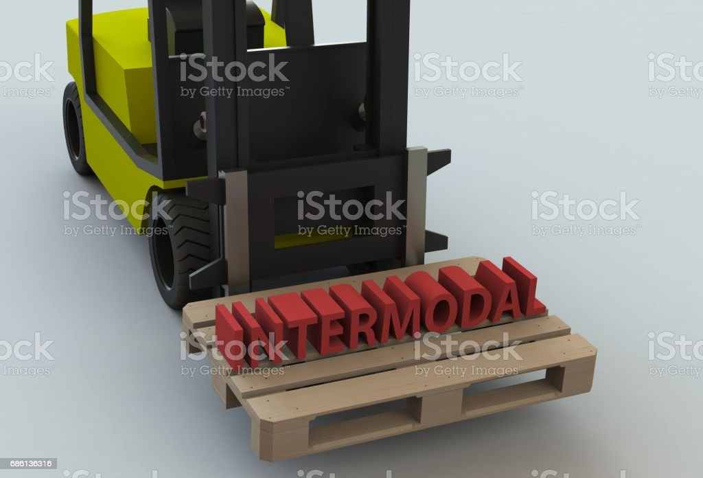 INTERMODAL, message on wooden pillet with forklift truck, 3D rendering stock photo