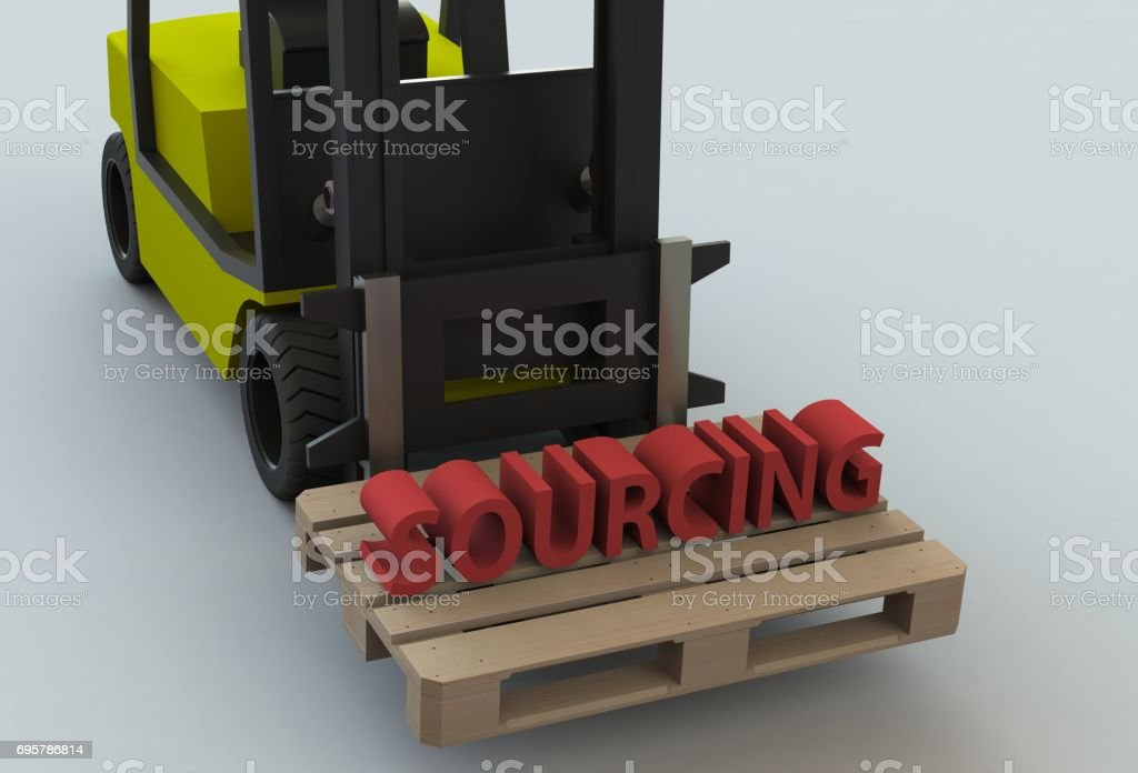 SOURCING, message on wooden pillet with forklift truck, 3D rendering stock photo