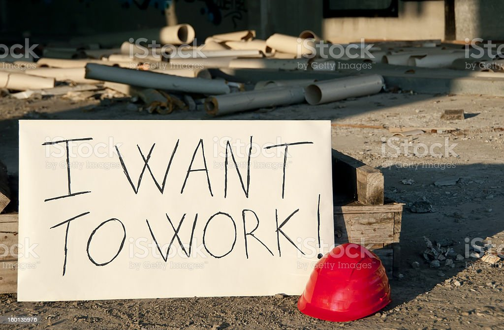 Message opposed to unemployment. stock photo