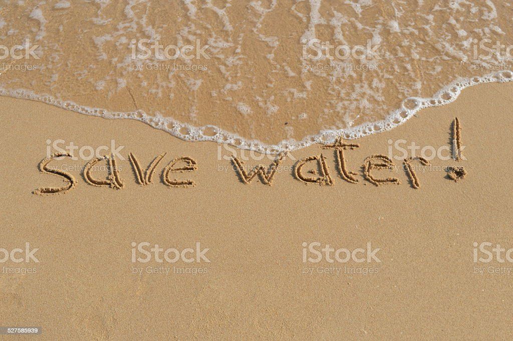 Message 'save water' stock photo