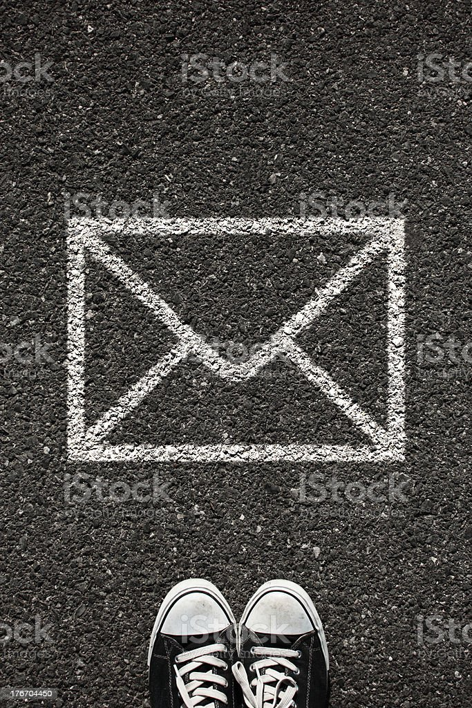 Message sign and shoe stock photo