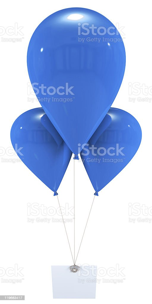Message with blue balloons royalty-free stock photo