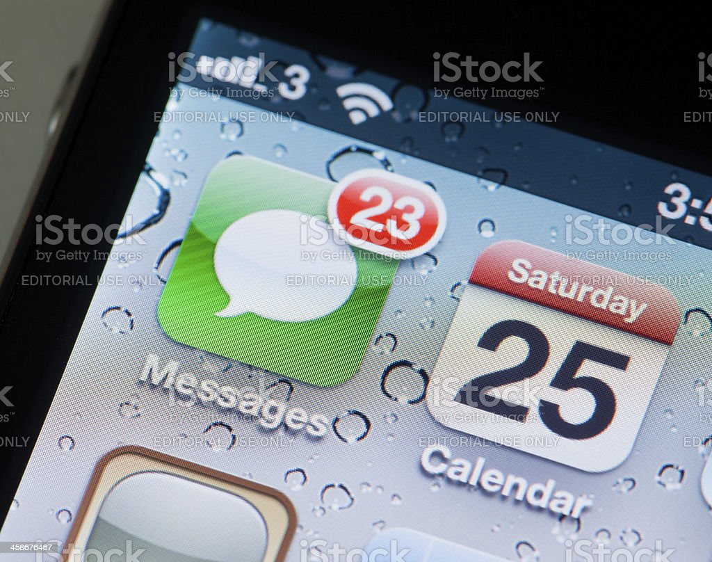 Messages app on iPhone stock photo