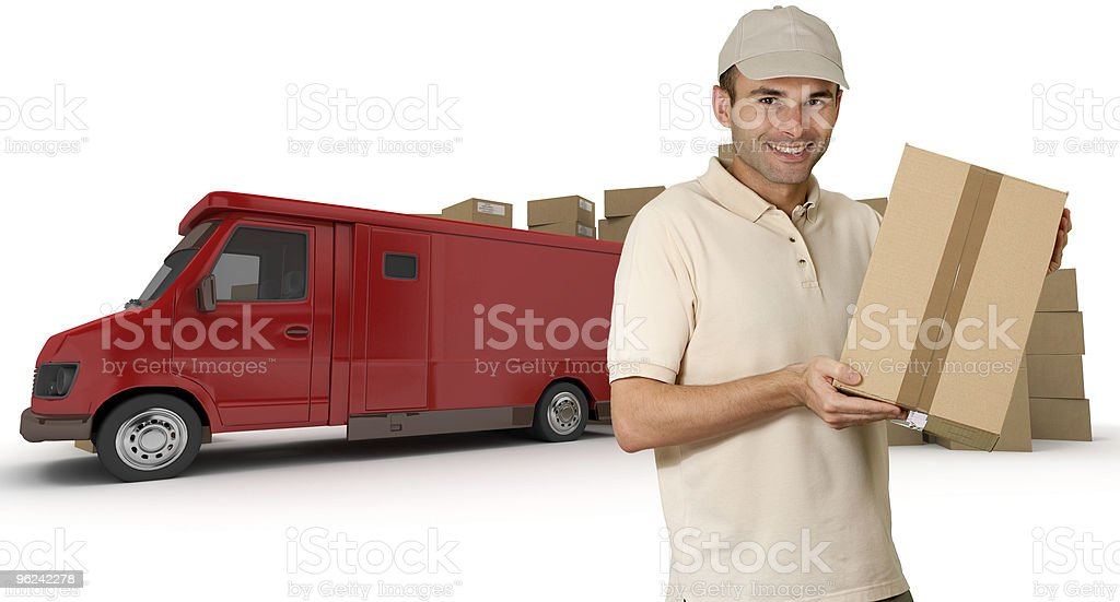 Messenger and red lorry royalty-free stock photo