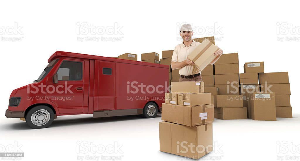 Messenger and red van royalty-free stock photo