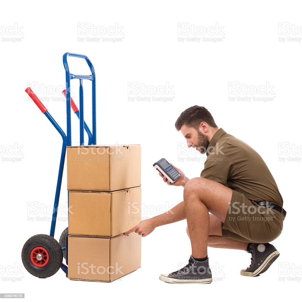 Messenger checking the delivery stock photo