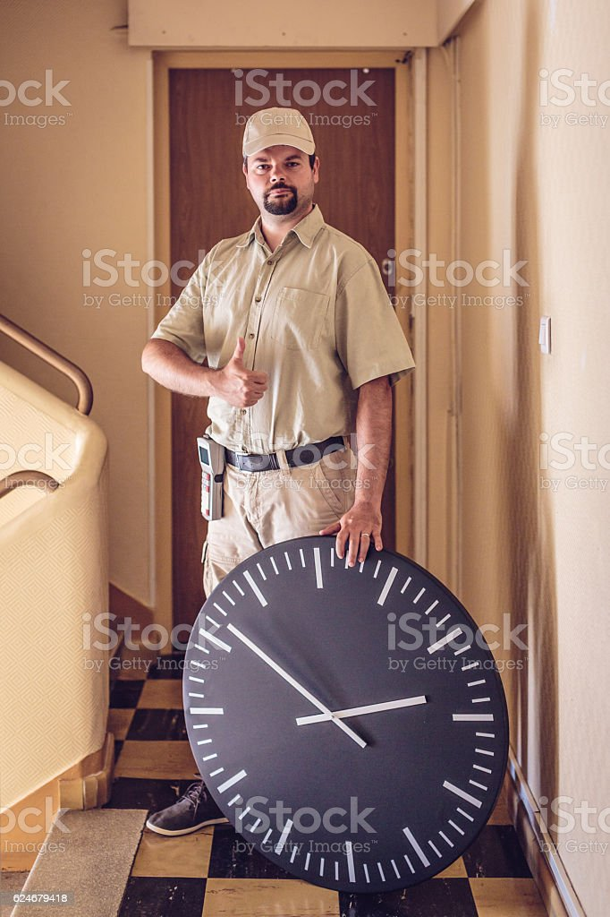 Messenger delivered your parcel right on time stock photo