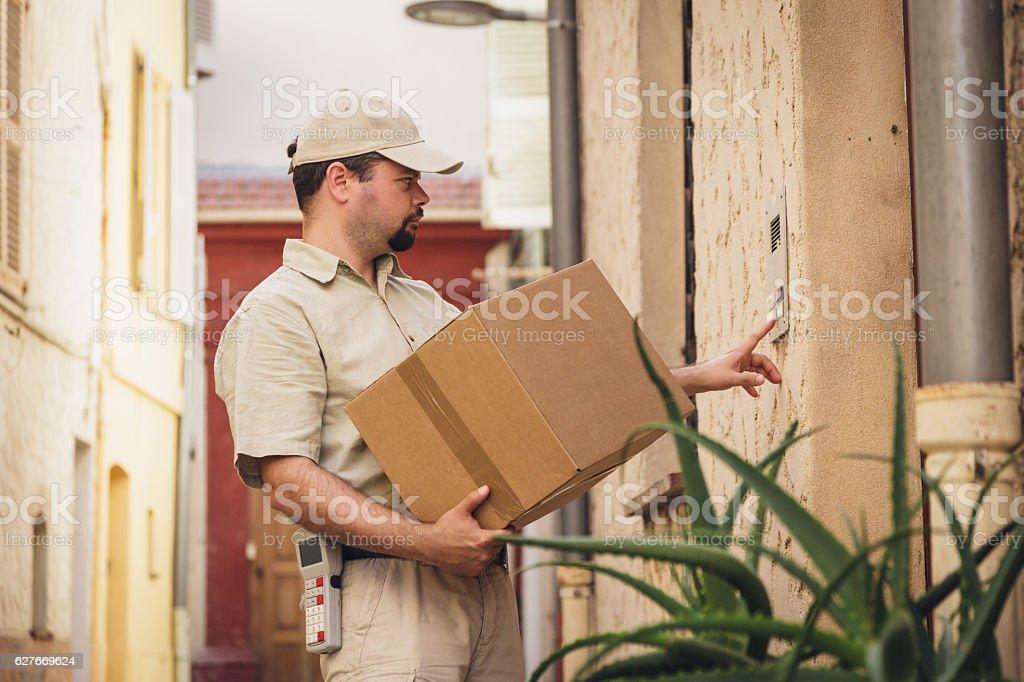 Messenger delivering parcel stock photo