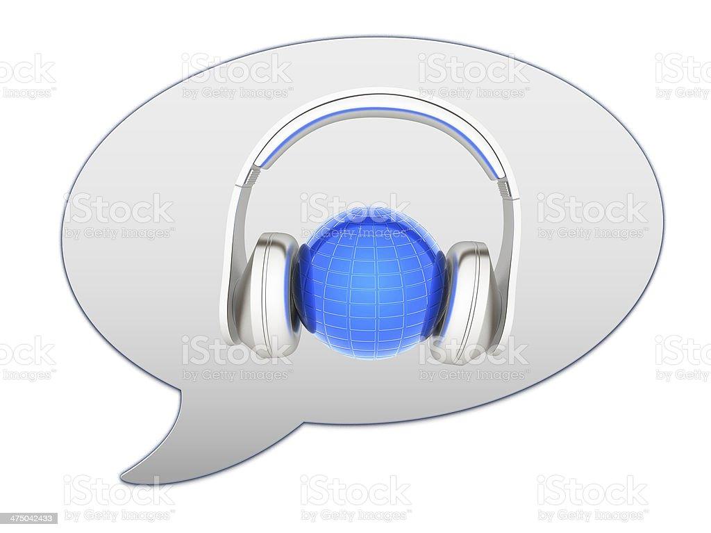 messenger window icon. 3d illustration of earth listening music stock photo