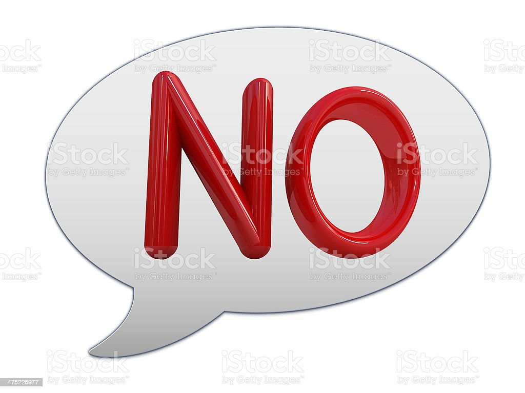 messenger window icon. 3d Red text ' No!' royalty-free stock photo