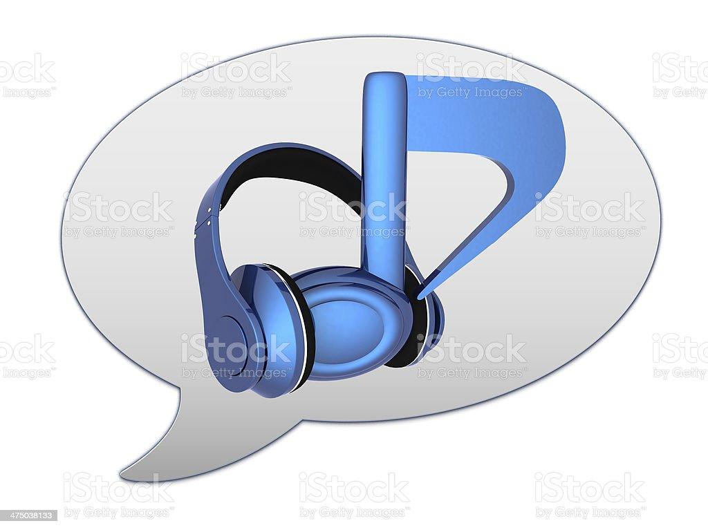 messenger window icon. Blue headphones and note stock photo